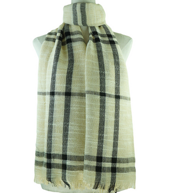 Beige Scarf With Black Stripes