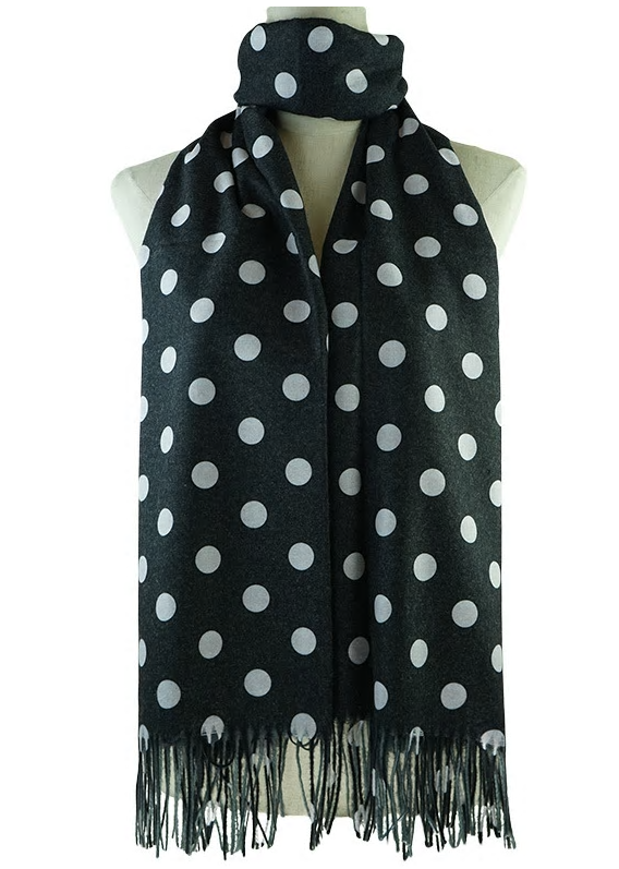 Black Scarf With White Polka Dots