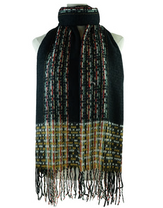 Black scarf with Woven mixed Colors