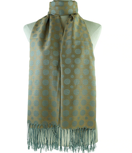 Pashmina Scarf with Dots and Fringe