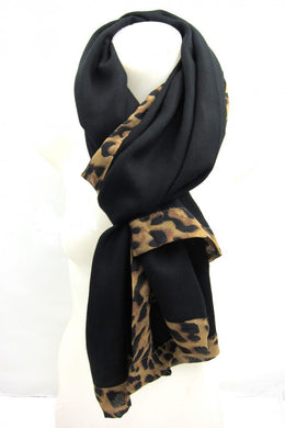 Black Scarf with Leopard Pattern Trim