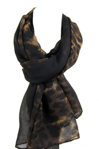 Black with Leopard Print Scarf