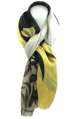 Gold and Beige Print Scarf
