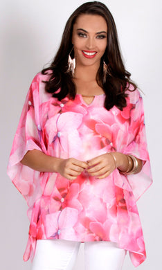 Chiffon Pink Floral Loose Fit Top