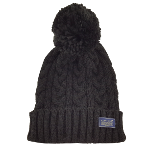 Cable Feature Knit Beanie with Pom Pom