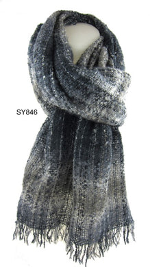 Warm Cosy Boucle Blue Grey Scarf