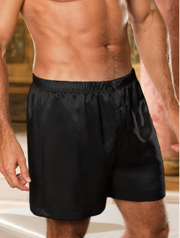 Men's Black Silky Boxer Shorts