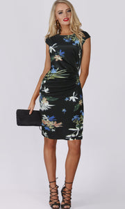 Navy Waist Gather Floral Print Knit Dress