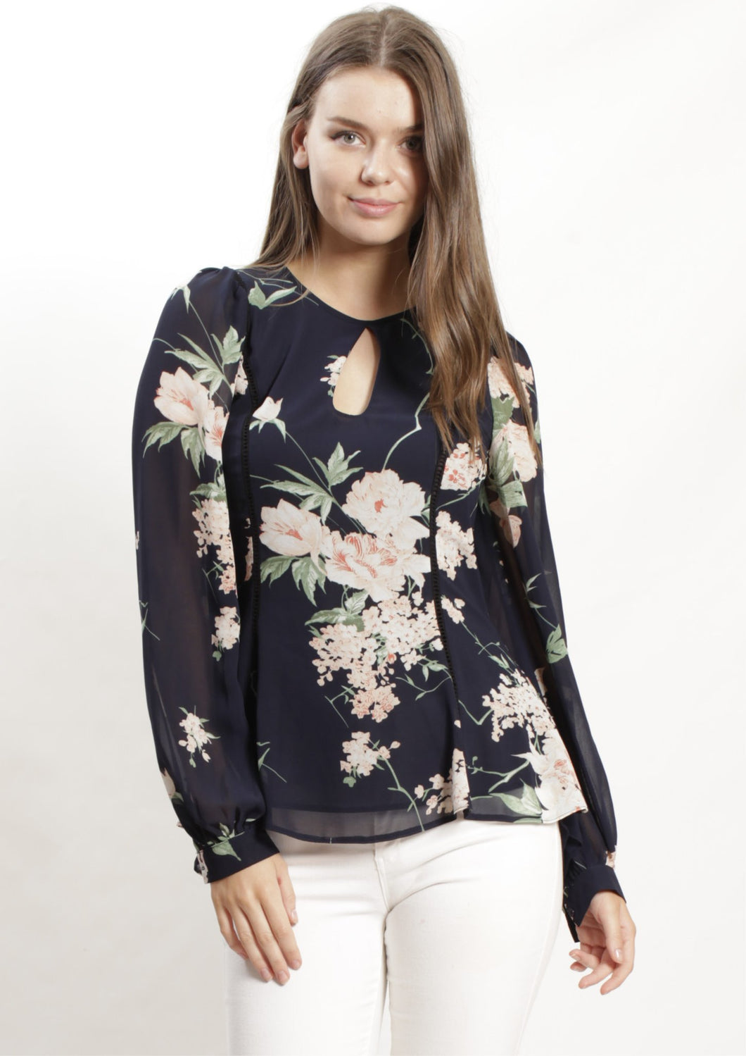 Floral Top with Keyhole Front