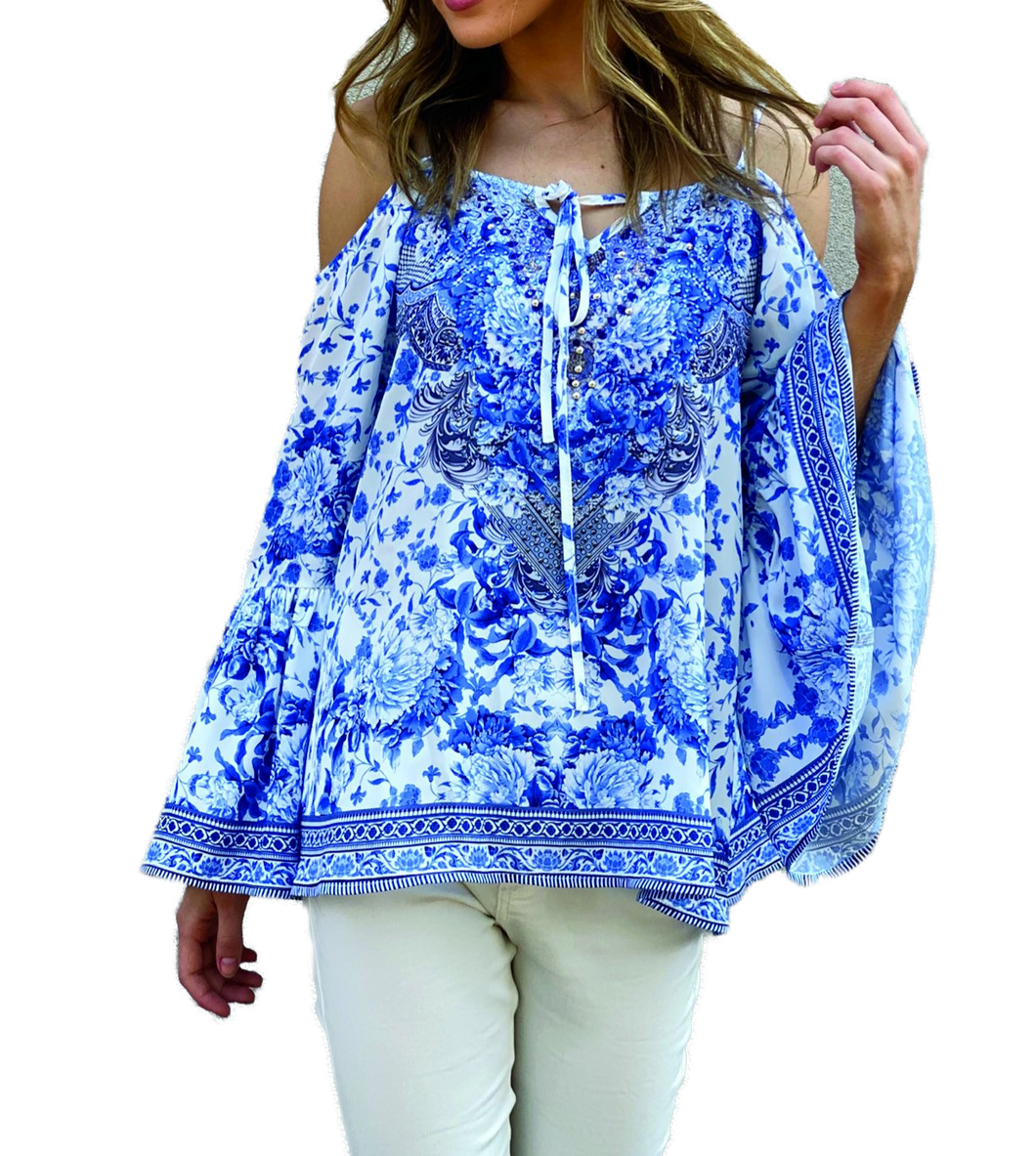 Blue  Floral Embellished Top