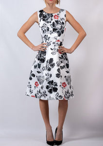 Hibiscus Printed A-Line Dress