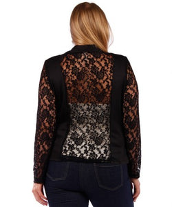 Plus Size Lace Panel Jacket - Black