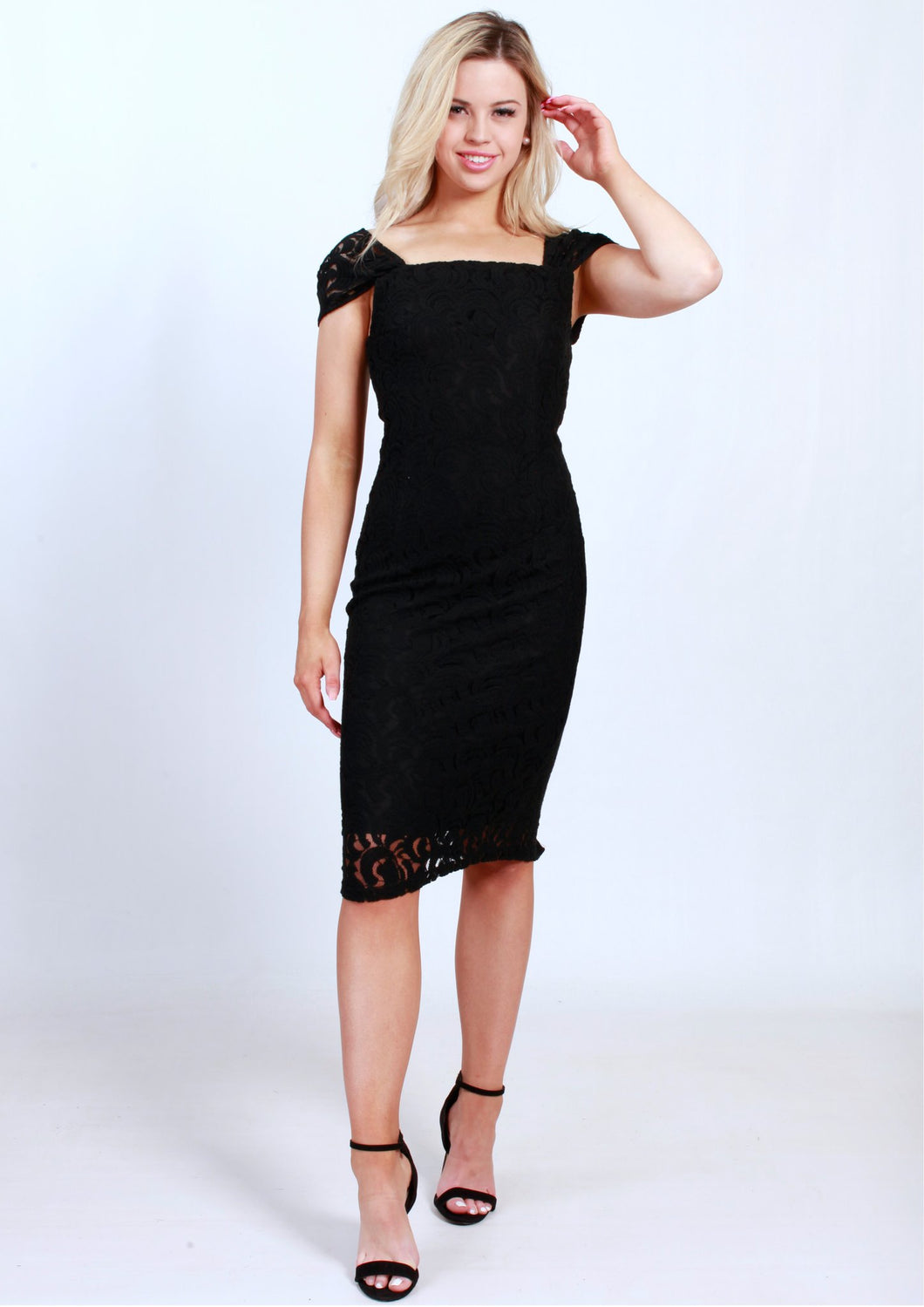 Lace Detail Black Dress