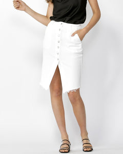 Run Free Button Down Skirt - White
