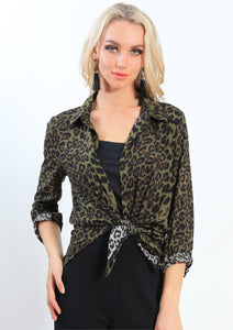 Green Leopard Print Top