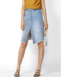 Run Free Button Down Skirt - Indigo Wash