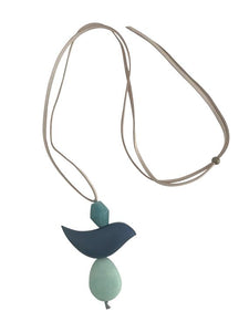 Leather Necklace Wooden Feature - Blue
