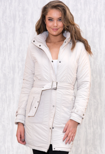 Belted Long Puffer Jacket - Ice