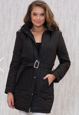 Belted Long Puffer Jacket - Black or Khaki