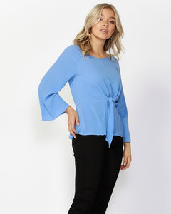 Twisted Tie Front Blouse