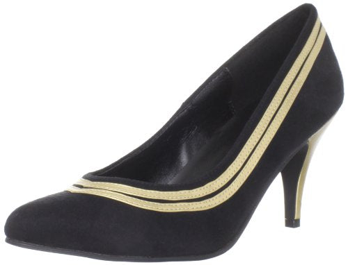 Black/Gold Pump with Kitty Heel