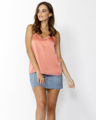 SASS Flirty Lace Trim Cami - Amber