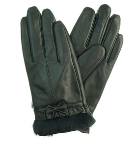 Black Leather Gloves with Bow