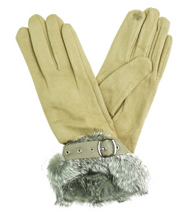Gloves with Faux Fur Trim - Beige