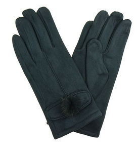 Suede Gloves - Navy