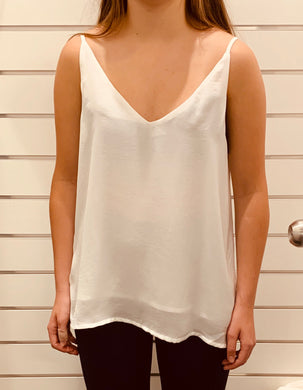V- neck Cami - White