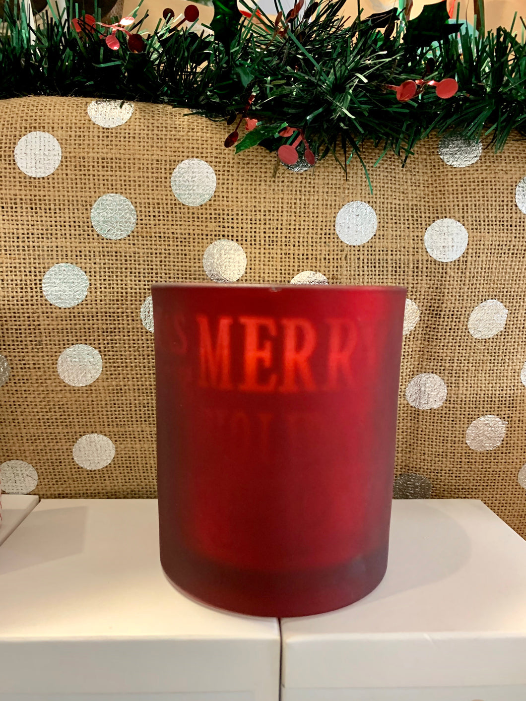 Xmas Candle Large Frosted Red