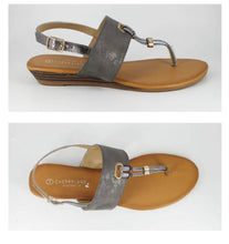 Kris Wide Metallic Band T-Bar Sandal