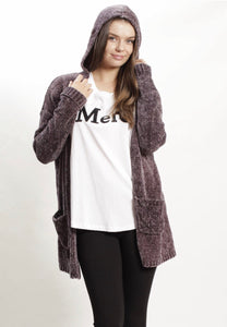 Hooded Midi Cardigan - Purple