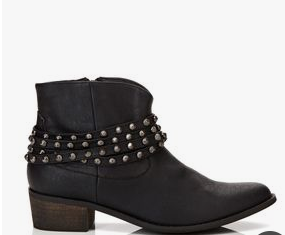Black Ankle boot with studded straps