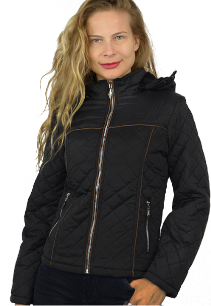 Faux Fur lined Zip up Jacket with Hood - Black