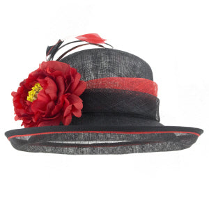 Jasmine Black/Red Dress Hat