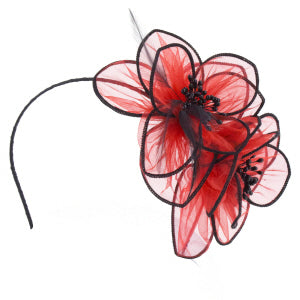 Jazz Fascinator - Black/ Red