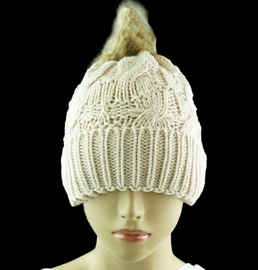 Cable Beanie with Fur Pom Pom - Beige