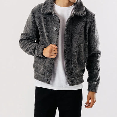 Men's Grey Sherpa Jacket