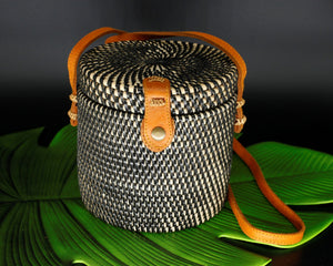 Black, Cream Cylindrical Rattan Bag Lilith