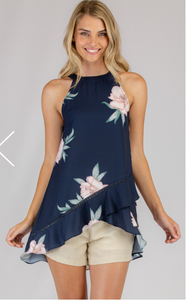 Floral Printed Halter Top - Navy