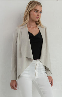 Suede Waterfall Jacket - Stone