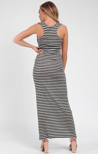 Striped Black and White Maxi Dress