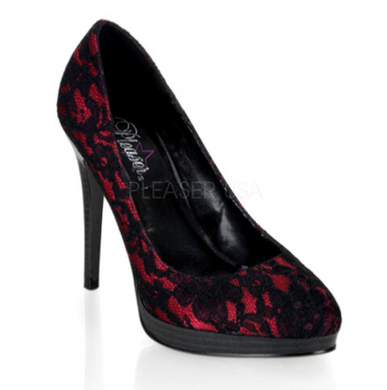 Black/Red Lace Pumps