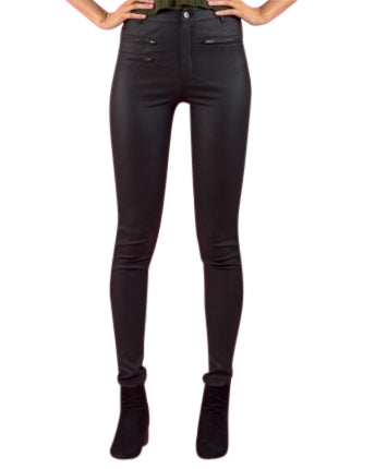 Wax Look  Jeans - Black