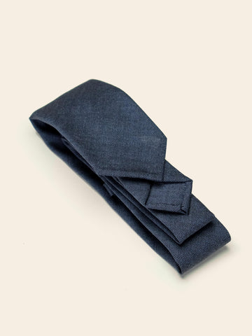 Blue Wool/Mohair Sevenfold Tie