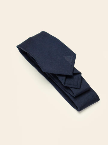 Navy Kid Mohair Sevenfold Tie