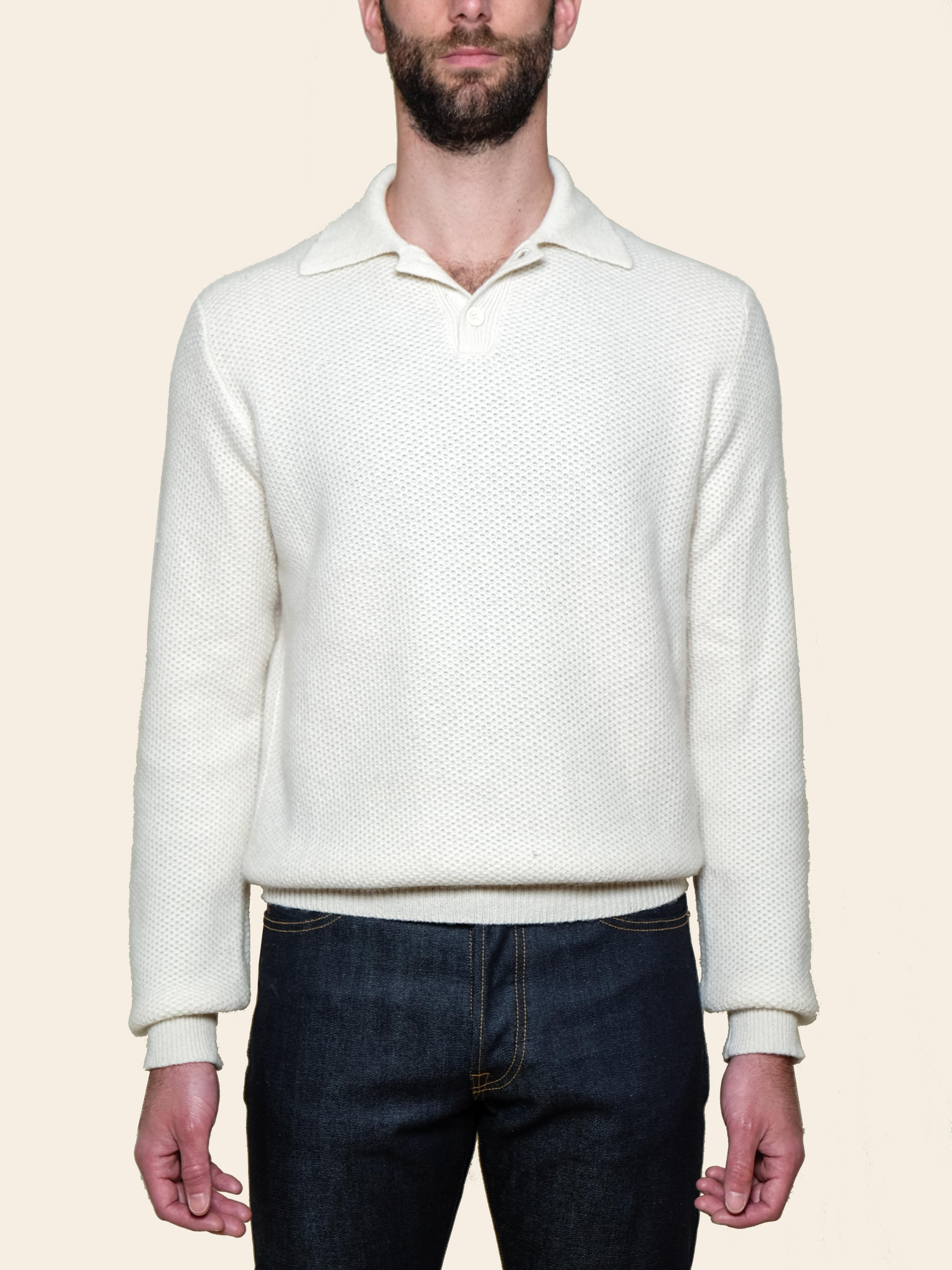 White Cashmere Long Sleeve Polo