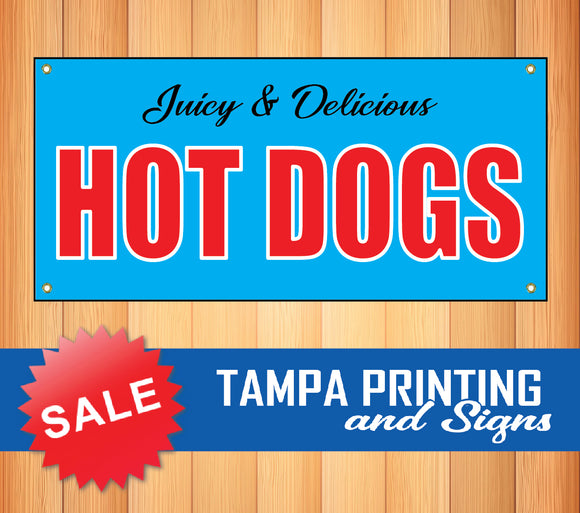Juicy Delicious Hot Dogs Blue Banner