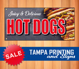 Juicy Delicious Hot Dogs Banner